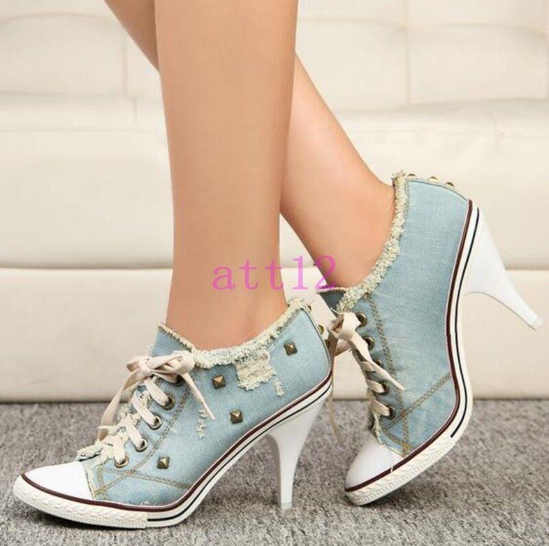 femmes High Heel Lace UP Pumps baskets Rivet Denim Canvas Platform chaussures Chz8 hot