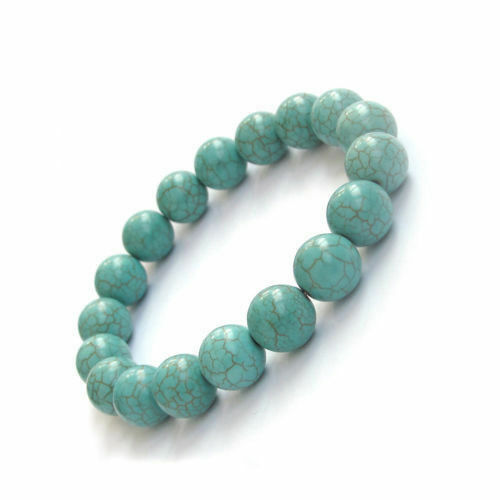 Fashion 10 mm turquoise perles rondes extensible femmes dame fille bracelet jonc