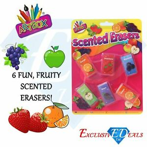 Scented-Erasers-Rubbers-School-Stationary-Gift-Party-Bag-Filler-Pack-of-6