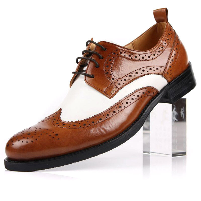 New Men's Real Leather Dress Formal shoes Lace up Wing Tip Black Brown H1951