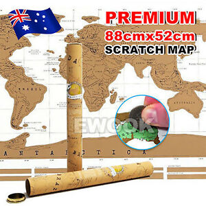 OZ Map Scratch World Travel Edition Where You Travel Poster Layer Off Gift Atlas