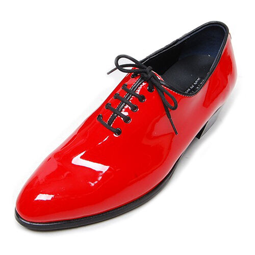Men's glossy red plain toe lace up dress shoes hand made KOREA US6-US10.5