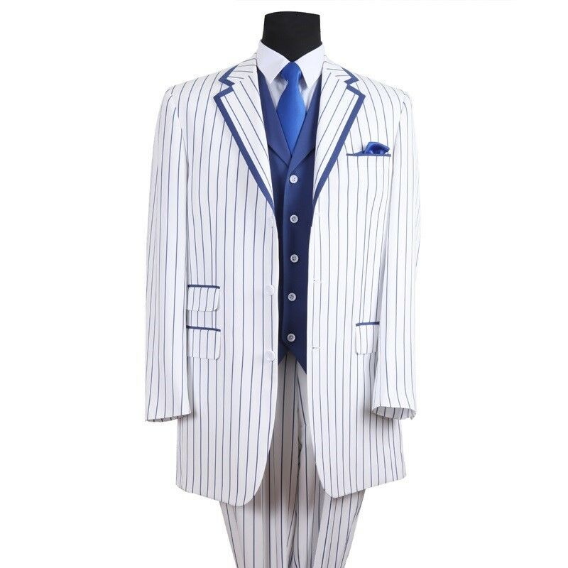 Men's 3 Button Fashion Striped Suit w  Solid Vest 3pc Set White bluee