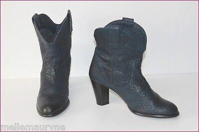 Pastelle Bottines Boots Cuir Carioca Bleu Nuit T 40 Be