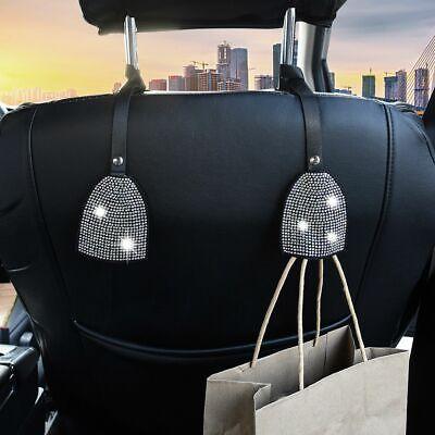 SAVORI Car Vehicle Back Seat Headrest Hook Hanger Bling Auto Rhinestones Storage Hangers Car Organizer for Purse Groceries Bag Handbag Black, 2 Pack