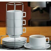Stackable Coffee Tea Cups Saucer Set 9 Pc White Porcelain Wire Rack Stand Holder