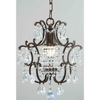 Small Chandelier 1 Light Fixture Crystal Hanging Lighting Metal Brown F Pendant