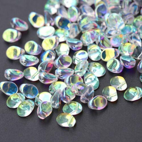 CHOOSE COLOR 50Pcs 6x8mm Czech Glass Crescent Tulip Petals Pressed Beads HH6706