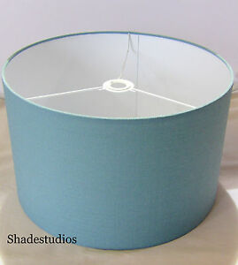 Hand made duck egg blue linen lampshade with white pvc inner ebay image is loading hand made duck egg blue linen lampshade with mozeypictures Choice Image
