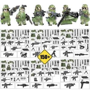 6pcs-Armee-Soldaten-Bausteine-Blocks-mit-Waffen-WW2-Militaer-Figuren-Spielzeug