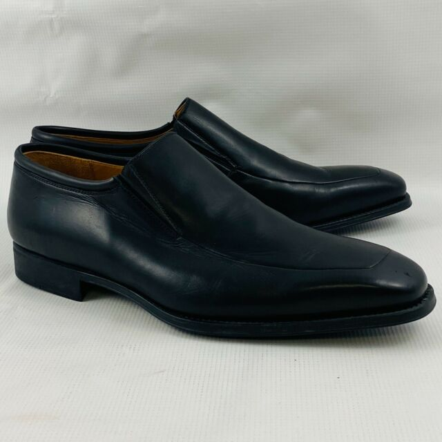 Mens 12W Magnanni Dominguez Loafers Black Leather Shoes Slip On Style #12655