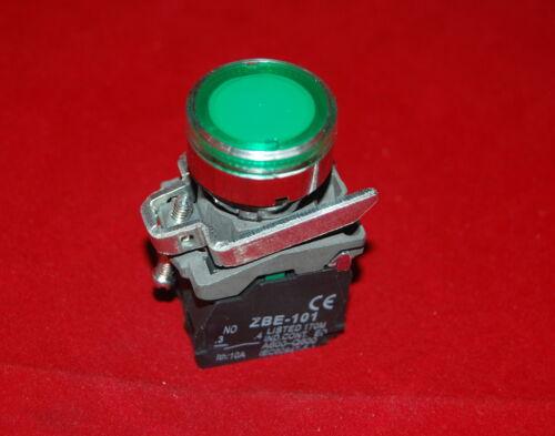 1PC 22MM  Illuminated pushbuttons with flush push Fits XB4BW33G5 110//120V Green