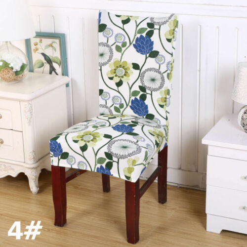 1//2//4//6//8 Pc Dining Room Wedding Chair Protective Covers Stretch Printed Spandex