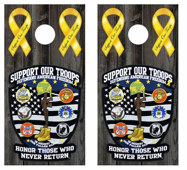 Support Our  Troops Cornhole Board Decal Wraps w FREE APPLICATION SQUEEGEE  official authorization