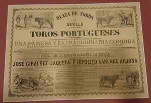ANTIGUO-CARTEL-PLAZA-DE-TOROS-DE-SEVILLA-1879-CON-PASPARTU-49x38-Centimetros