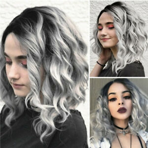1-x-Short-Wavy-Bobo-Human-Hair-Rose-net-Wig-Glueless-Front-Wigs-Gray-Women