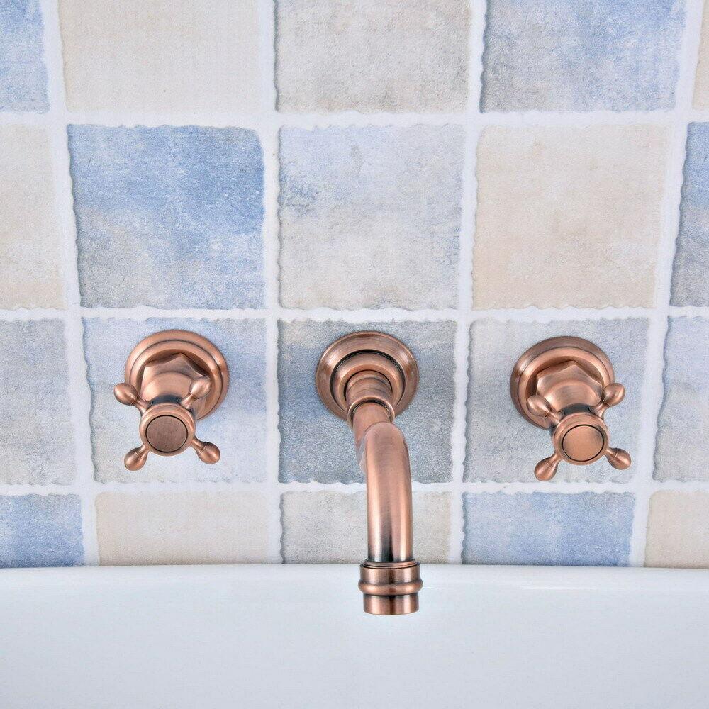 Antico Rosso di rame parete 3 fori vasca da bagno lavandino rubinetto miscelatore Tap ysf521