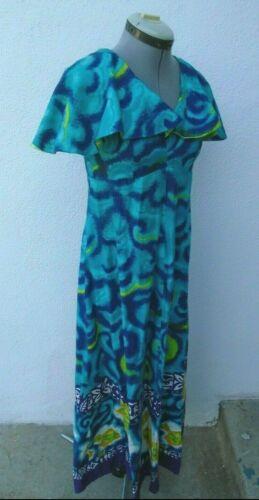 Vintage 1950s Barkcloth Hawaiian Map Print Dress