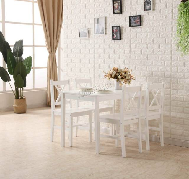 Westwood DS03 Solid Wooden Dining Table And 4 Chairs   White