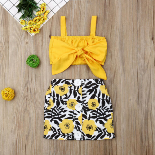 2PCS Kids Baby Girl Clothes Sleeveless Vest Tops Floral Skirt Dress Outfit Set