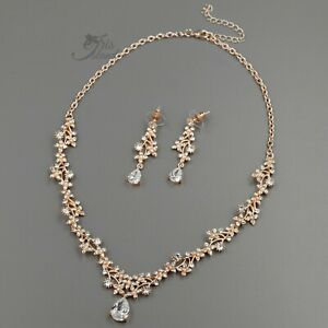 Drop Stud Earrings Rose Gold Filled Chain Shelby- Ships in 1-3 Days 925 Sterling Silver Chain Cubic Zirconia Crystals Bridal Jewelry Set