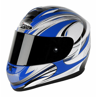 Nitro N1730 5 Star Fibreglass Full Face Motorcycle Crash Helmet Blue Silver XL