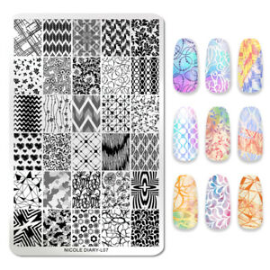 NICOLE-DIARY-Rectangle-Nagel-Schablone-Flower-Heart-Image-Stamp-Templates-L07