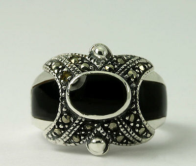 Vintage Sterling Silver Natural Onyx Inlay Marcasite Milgrain Band Ring SZ 6