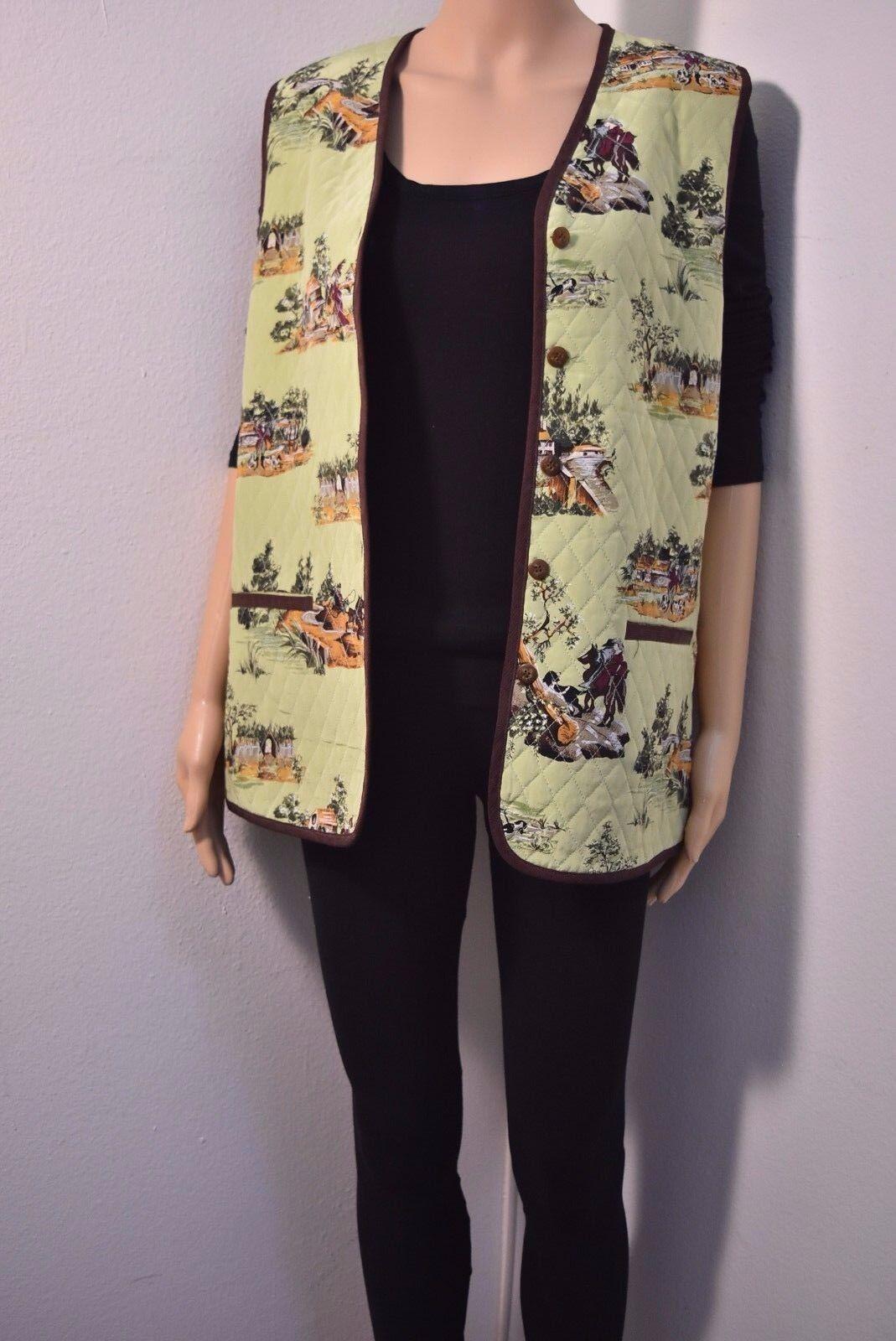 DIANE VON FURSTENBERG 100%  silk Western cowboy scene Vest Womens Size XS