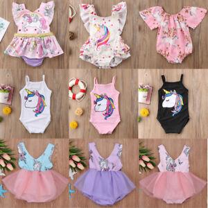 1060ab9bc29a Image is loading Newborn-Infant-Baby-Girl-Unicorn-Romper-Bodysuit-Jumpsuit-