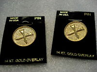 Set Of 2 Golf Tee Lapel Pins 14 Kt. Gold Overlay