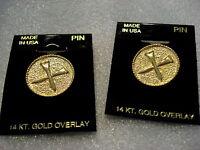 Set Of 2 Golf Tee Lapel Pins 14 Kt. Gold Overlay