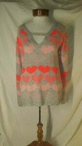 Delia's Womens Small Gray Multi Tone Pink Heart Cut Out Long Sleeve Sweater