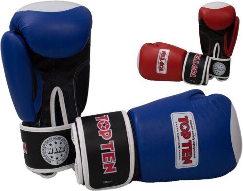 echt Leder 10Oz Kickboxen,Compet Muay Thai Boxen Boxhandschuhe TOP TEN WAKO