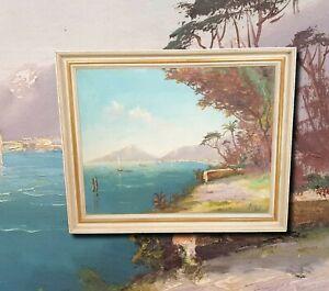 Sizilianische-Kuestenansicht-Golf-von-Sorrent-Original-Olgemaelde-Monogrammiert