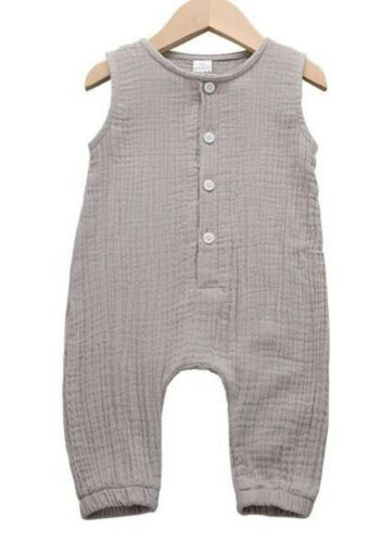 Newborn Cotton Linen Romper Baby Boy Girl Sleeveless Jumpsuit Outfit Clothes