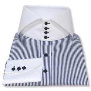 taglia 40 c11d3 43906 Dettagli su Da Uomo Alta Colletto della Camicia Strisce Blu Bianco  BANCHIERI colletto spaccato Gemelli da uomo- mostra il titolo originale