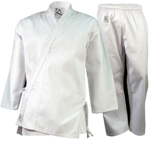 KD ELITE White Cotton Poly Martial Arts Uniforms Karate   TaeKwonDo w Free Belt