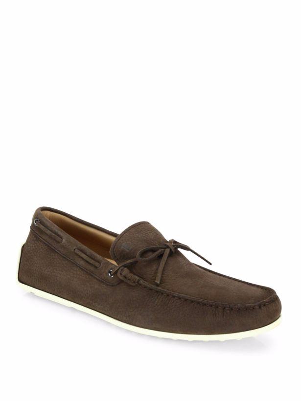 Retail  495 Tod's Pebbled Nubuck Dark Dark Dark Brown Pelle Loafers Sz9 Made in Italy 090405