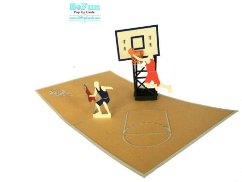 Love Pop Up Card Basketball Greeting Birthday Congratulation Size open 30x18cm