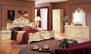 Details zu Schlafzimmer Komplett-Set Beige Hochglanz Italienische Möbel  Stil Barock Klassik