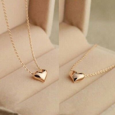 Tiny Elegant Lovely Little Gold Love Heart Cute Short Necklace Present Gift