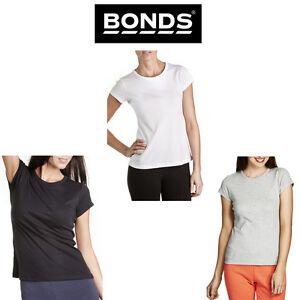 BONDS WOMENS SHORT SLEEVE CLASSIC CREW TEE BLACK WHITE GREY TSHIRT SZ 8-16 C0B95