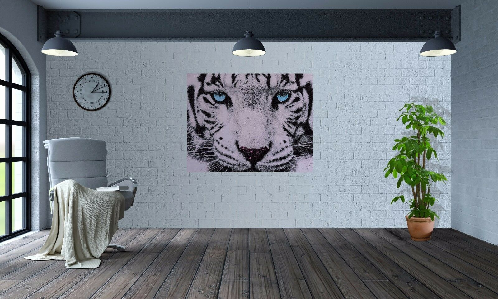 Stunning Close up Weiß tiger tiger tiger Blau eyes wallpaper wall mural (37480445) 99e79b