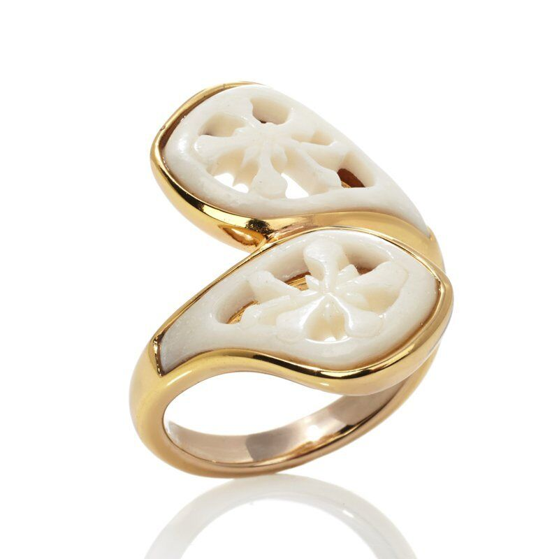 GENUINE CARVED BONE  BRONZE BYPASS RING SIZE 7 FREE USA SHIP NEW CARVED BONE