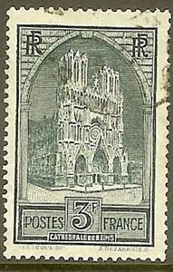 FRANCE-TIMBRE-STAMP-N-259-034-CATHEDRALE-DE-REIMS-3F-034-OBLITERE-TB