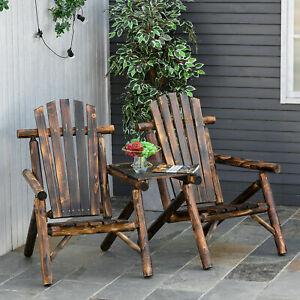 Clearance Sale Outsunny Wooden Double Adirondack Chair w/ Coffee Table Vintage