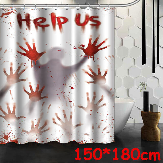 18M Scary Horror Halloween Shower Curtain Blood Help Us Psycho Party Decoration