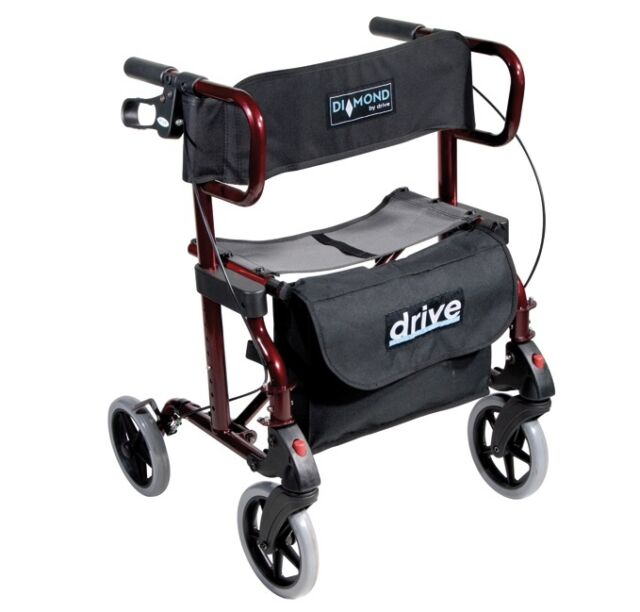 Rollator faltbar Diamond de Luxe inkl. Fußstützen Transportrollstuhl Rollstuhl
