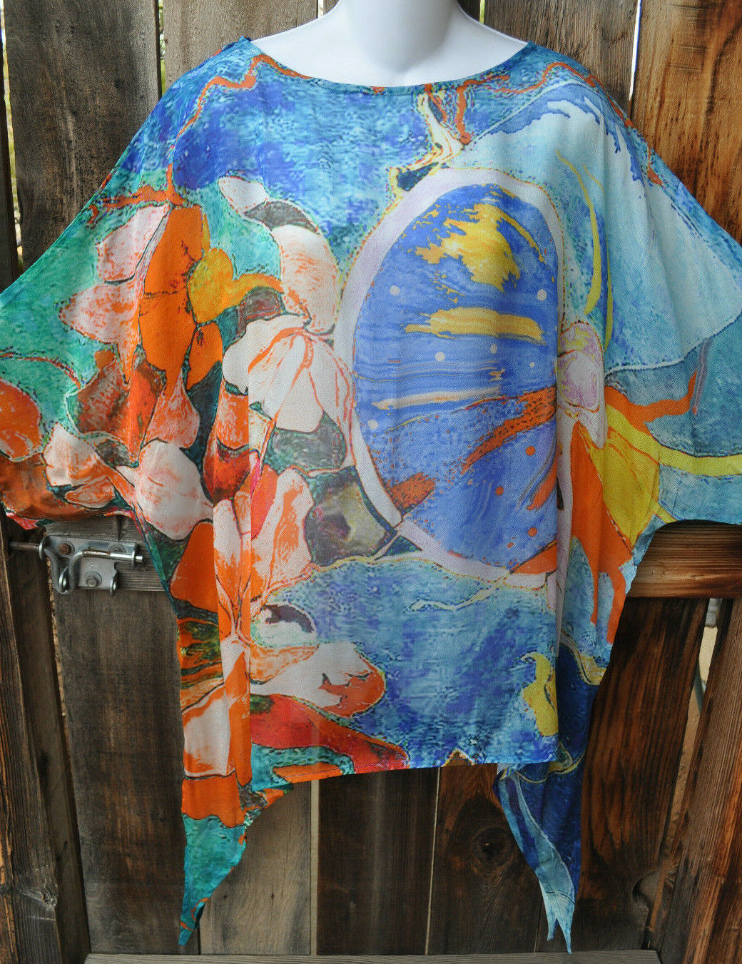 DILEMMA HAND PAINTED SELIGMAN INSPIrot ART SILK ART TO WEAR LONG PONCHO TUNIC,OS